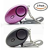 Bluehare Taschenalarm,130 dBPersonal Security Alarm Schlüsselanhänger mit LED-Licht für Frauen Kinder Mädchen (Black + Purple)