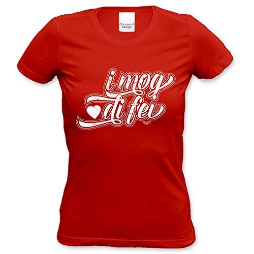 Geschenk zum Valentinstag für Sie T-Shirt coole Geschenkidee Geburtstag I mog di fei Valentinstagsgeschenk Frauen Farbe: rot Rot