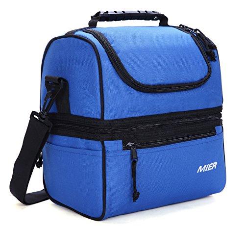 Mier insulated lunch box grande inserto kit da pranzo freddo con borsa in pelle per uomini, donne, doppio piatto cooler (blu navy)
