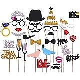 Veewon Nuevas bragas de la foto de la boda de la manera Adornos de la foto Apoyos de la cabina de la foto Día de tarjetas del día de San Valentín, 31 PC atados al palillo NO necesita el bricolaje, bigote, sombreros, vidrios, boca, corona, anillo Sr.