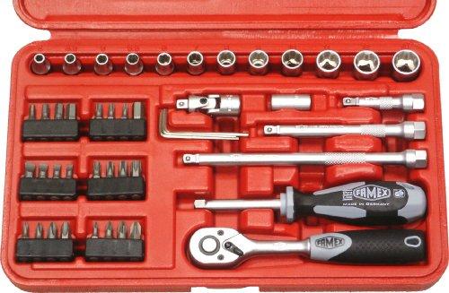 Famex 590-20 Coffret clé à cliquet mécanique à denture fine 47 pièces 6,3 mm (1/4) 4-13 mm (Import Allemagne)