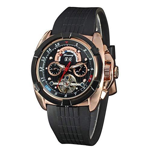 Deluxe-zifferblatt-skala (Sport Armbanduhr, 2 Farben Männer Delicate und Deluxe Automatische Mechanische 16 Skala Runden Zifferblatt Analoganzeige Armbanduhr(Black + Rose Gold))