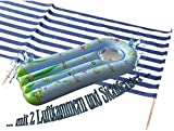 Idena Windschutz/Sichtschutz aus Baumwolle, inkl. 7 Holzstäbe, 8,00m x 0,80m (8m + Luftmatratze, Blau | Weiß)
