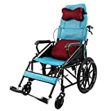 ACEDA Faltbarer Rollstuhl Mit Rutschfest Armlehnen,17Kg Leichter Tragbar,Transportrollstuhl Reiserollstuhl,Sitzbreite 46Cm,Mit Abnehmbarer Rückenlehne Und Kopfstütze,Blue