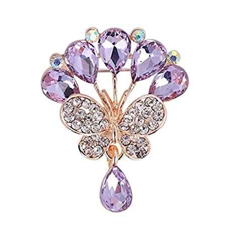 Hosaire 1X Rhinestone Butterfly Brooch Pin Rhinestone Covered Scarves Shawl Clip For Women Ladies(Purple)
