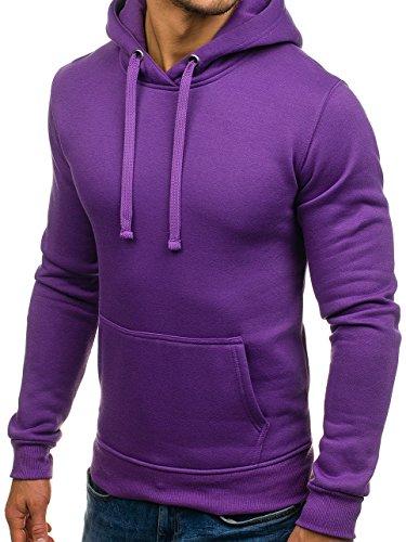 BOLF Herren Kapuzenpullover Sweatshirt Hoodie Basic Sport Style Mix 1A1 Violett_AK47-14