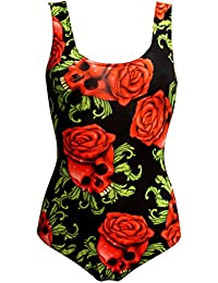 Enchanting Rose Skulls Gothic Swimsuit Bodysuit