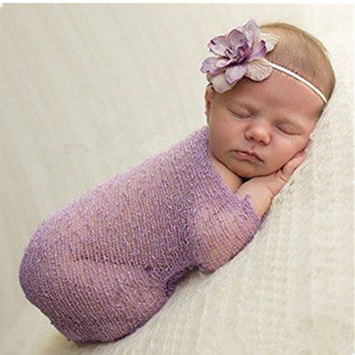 Di lusso Stretch Neonato Bambino Bambina Fotografia Props Wrap Filati panno del bambino Blanket (viola) - Viola Panni
