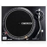 Reloop RP-2000 MK2 DJ Plattenspieler mit quarzgesteuerten Direktantrieb und Phono-/Lineausgang, Schwarzmetallic