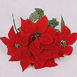 LUYUE 7cabeza rojo Navidad Pascua bush artificial flores decoración para el hogar interior para árbol de Navidad