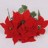 LUYUE 7cabeza rojo Navidad Pascua bush artificial flores decoración para el hogar interior para árbol de...