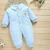 PinzhiBabyspielanzug Langarm Baumwolle Bequeme Baby Pyjamas Cartoon Gedruckt Neugeborenes Baby Mädchen Kleidung 66 CM (Blau)