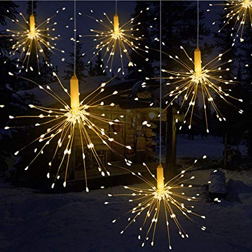 Winiron Lichterkette LED Feuerwerk Weihnachtslichterkette Baumschmuck Warmweiß Partylichterkette 180 Lichte -