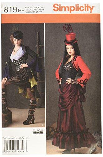 Simplicity Muster 1819HH Schnittmuster Steampunk Kostüm Gr., 6–44–12