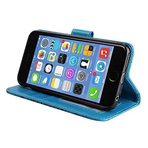 Custodia IPhone 6S / 6, ESSTORE-EU Custodia in Pelle con Slot per Schede,Stile Libro,Custodia Portafoglio per IPhone 6S / 6 con Funzione di Supporto e Chiusura Magnetica, Blu Blu