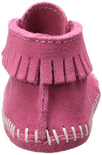 Minnetonka - Velcro Front Strap Bootie, scarpine per gattonare  per bambine e ragazze Rosa (Pink)