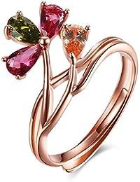 HMILYDYK de mujer de plata ajustable anillo Marquis circonita colorido en forma de pera anillo de diamante banda