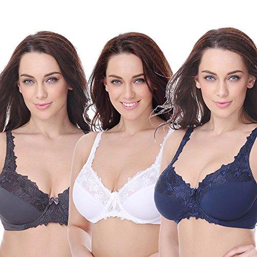 Curve Muse Damen plus size minimizer bügel-bh ungefüttert mit stickerei-spitze 42d marine, weiß, grau - 2