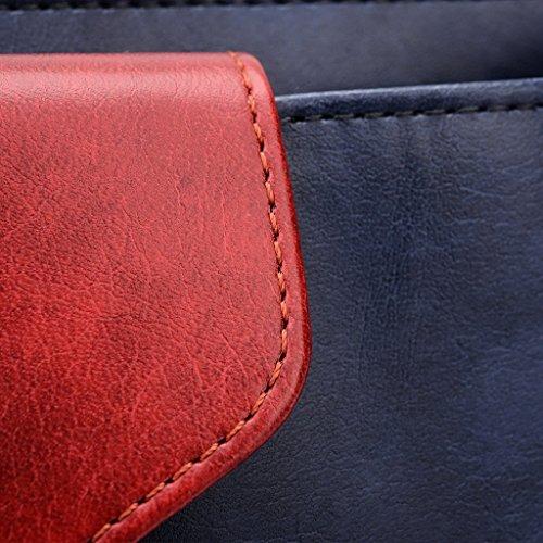 Kroo Pochette Portefeuille en Cuir de Femme avec Bracelet Cuir pour Gigabyte Gsmart Saga S3 noir - Noir/rouge Bleu - Blue and Red