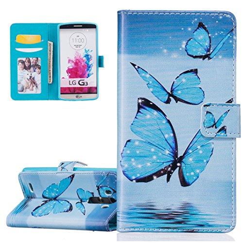 Coque pour LG G3, Etui pour LG G3, ISAKEN Peinture Style Soulagement de la couleur PU Cuir Flip Magnétique Portefeuille Etui Housse de Protection Coque Étui Case Cover avec Stand Support et Carte de C Papillon bleu
