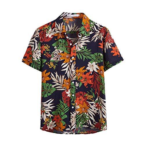Camicia di Cotone Hawaiana da Uomo Vendita a Maniche Corte Stampa Top per Camicette Casuali(Blu Scuro 2,XX-Large)