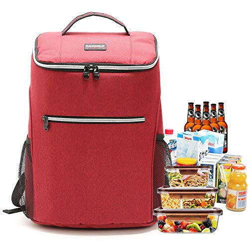 LATIT Kühlrucksack Thermo Rucksack Kühltasche wasserdichte Isolierte Cooler Bag Picknicktasche für Picknick/BBQs/Camping/Ausflügen/Einkaufen, Rot