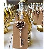 aytai 50pack de bodas bevorzugungs de Skeleton Llave Abridor de botellas con umbau de tarjetas para Partido de pomos Decoración (Corona: 3pulgadas)