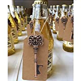Aytai 50 Pack Wedding Favour Skeleton Key Bottle Opener with Tag Cards for Party Rustic Decoration (Crown: 3 inch)