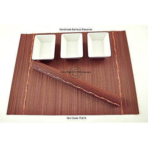 4manteles individuales de bambú hecho a mano, salvamanteles con fina calidad, pack de 4, color rojo (morado) con hermosa decoración de torsión,