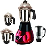 SilentPowerSunmeet Black-Red Color 800Watts Mixer Juicer Grinder with 4 Jar (1 Juicer Jar with filter, 1 Large Jar, 1 Medium Jar and 1 Chuntey Jar)
