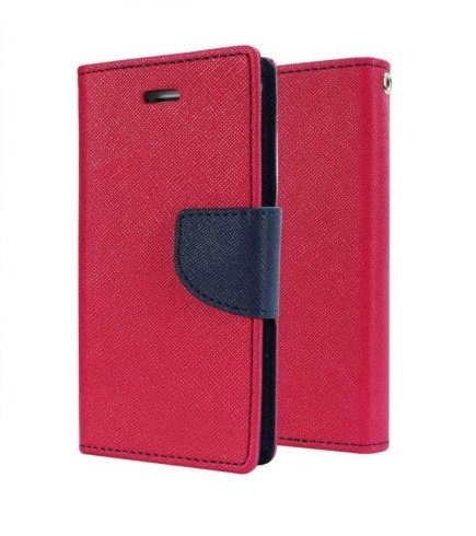 Delkart Wallet Style Flip Cover with in Built Card Holder for Micromax Canvas 4 A210 (Pink)