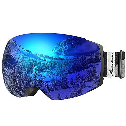 Outdoormaster occhiali da sci pro - occhiali intercambiabili senza montatura, 100% protezione uv400 occhiali da neve per uomo e donna(lente blu vlt 15% con custodia protettiva gratuita)