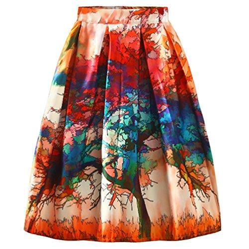 LvRao Damen Hohe Taille A-Linie Floral Plissee Röcke Elegant Faltenrock Knielang Vintage (#2 Orange Rot, S)