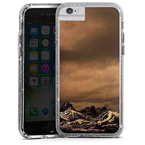 Apple iPhone 6s Bumper Hülle Bumper Case Glitzer Hülle Berglandschaft Gebirge Wolken Bumper Case Glitzer silber