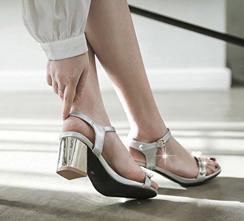 Oaleen Sandales Perles Femme Talons Moyen Bride Cheville Chaussures Bout Ouvert Eté Sexy argent moderne