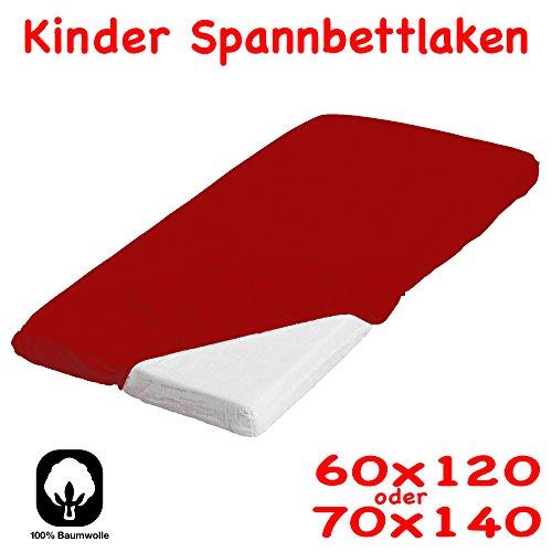 Jersey Kinder / Baby Spannbettlaken 70x140 Spannbetttuch Betttuch für Kinderbett Farbe rot