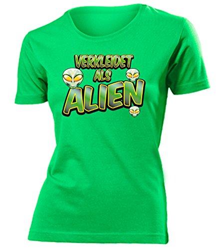 Alienkostüm Alien 3428 Kostüm Kleidung Damen T-Shirt Frauen Karneval Fasching Faschingskostüm Karnevalskostüm Paarkostüm Gruppenkostüm Grün ()