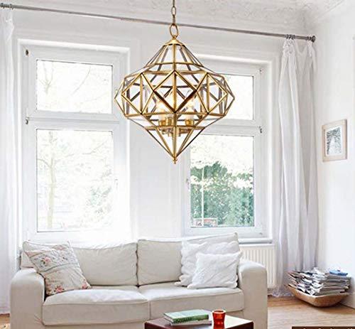 UKLLYY Kronleuchter Restaurant Licht Transparent Glas Kupfer Lampe Einfache Schlafzimmer Beleuchtung Europäischen Lampe Studie Kronleuchter und Arabischen Stil Löten Lampe 38 * 38 cm, LED * 3 * 40 Wat -