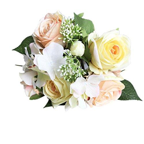 siconght 8Köpfe Künstliche Rose Fake Seide Blume Flower Leaf Blatt Bridal Bouquet Home Hochzeit Party Dekoration