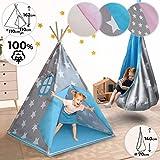 Teepee et Hamac pour Enfants | 110x110x162cm et Ø70x140cm, Design au Choix, avec ou...