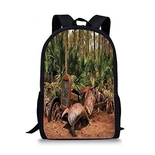School Bags Rustic Home Decor,Rusty Tractor Mule Truck Deep in Forest with Tropical Palm Trees Image,Brown Green for Boys&Girls Mens Sport Daypack -
