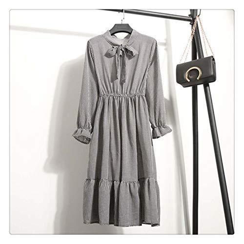 Empire Floral A-Line Chiffon Women Dress Fashion Long Sleeve O-Neck Summer Dress 2019 New Plus Size Casual Maxi Vestidos Female Color 05 L