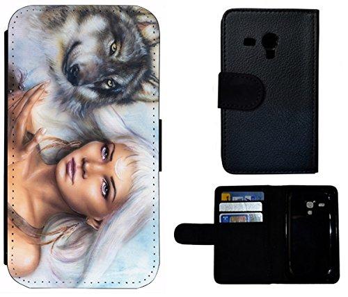 Flip Cover Schutz Hülle Handy Tasche Etui Case für (Apple iPhone 4 / 4s, 1419 Französische Bulldogge Welpe Hund) 1425 Wolf und Frau Animiert Abstract