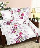 Genieße den Schlaf Mako-Satin Bettwäsche aus 100% Baumwolle Weiß mit bunten Blumen, 100% Baumwolle, Mehrfarbig, 155 x 220 cm
