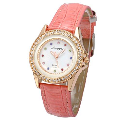 Unendlich U Damen Armbanduhr Rosa PU Lederarmband Bunte Diamanten Analog Quarz Uhr für Frauen/Mädchen