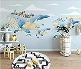YUANLINGWEI Benutzerdefinierte Wandbild Tapete Kreative Aquarell Ozean Tier Wal Muster Kinderzimmer Wand Dekoration Wandbild Tapete,230Cm (H) X 310Cm (W)