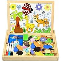 InnooBaby Magnetisches Holzpuzzle, 100 Stück Doppelseitige Holzpuzzle, Magnetisches Holzspielzeug, Puzzle aus Holz, Pädagogische Lernspiel, Tolles Geschenk für Baby Kleinkinder ab 3 Jahre