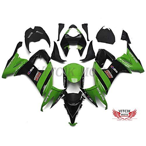 VITCIK (Kit Carenatura Compatibile con ZX-10R ZX10R Ninja 2008 2009 2010 ZX10R 08 09 10) stampaggio a iniezione per moto plastica in ABS telaio(Verde & Nero) A024