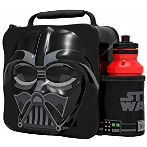 51kYXr2jPjL. SS300  - Disney's Star Wars Darth Vader 3D Thermal Lunch Bag for Kids at School with Sports Bottle - Insulated Snack Bag for Children with Drinks Bottle - Reusable Tote Cooler Lunch Box