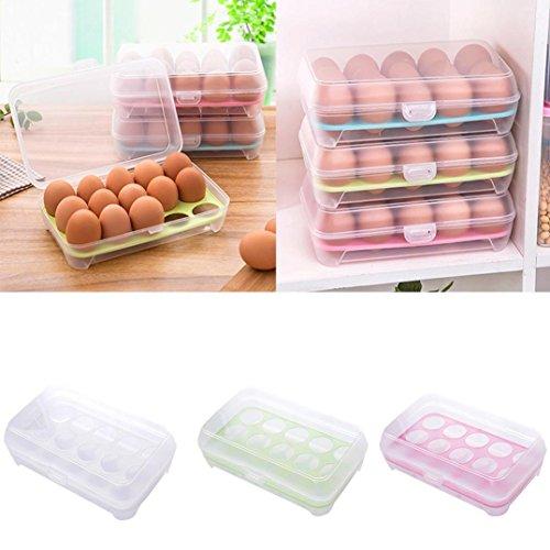 Ouneed® Eierbehälter , Single Layer Kühlschrank Lebensmittel 15 Eier luftdicht Lagerbehälter Kunststoff Box